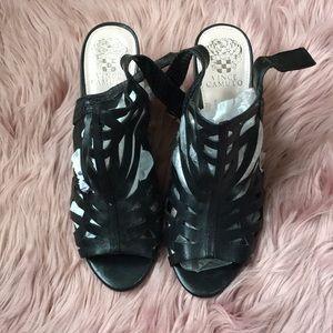 Vince Camuto Black Caged Heels